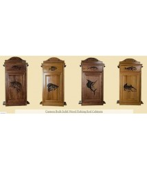 FISHING ROD CABINET SOLID WOOD WITH CUSTOM LASER ENGRAVINGS,CHO