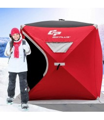 3-Person Portable Pop-Up Ice Shelter Waterproof Fishing Tent with Bag, Red