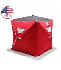 3 Person Ice Shelter Fishing Tent Pop Up Waterproof Hermetic With Carry Bag Red