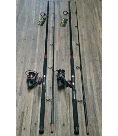 (LOT OF 2) FIN-NOR MEGALITE 10' 2PC HEAVY ACTION SPINNING COMBOS